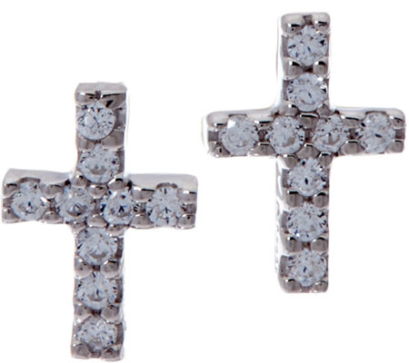 Diamonique Bitty Cross Earrings, Sterling