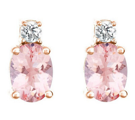 Premier 1.10 cttw Morganite & 1/8 cttw Diamond Earrings, 14K