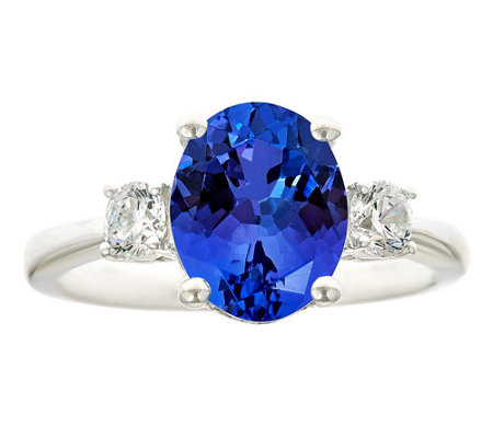 Premier 3ct Oval Tanzanite & 3/10cttw Diamond Ring, 14K