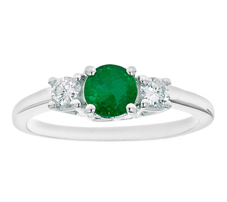 Premier Round Emerald & 1/5cttw Diamond Ring, 14K