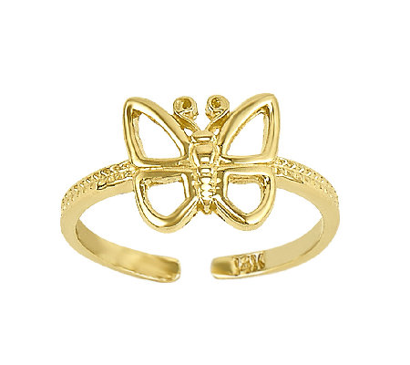 Polished Open Butterfly Toe Ring, 14K Gold