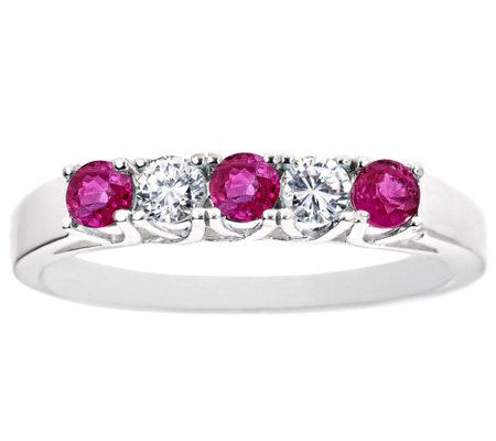 5-Stone Ruby and Diamond Band Ring, 14K Gold