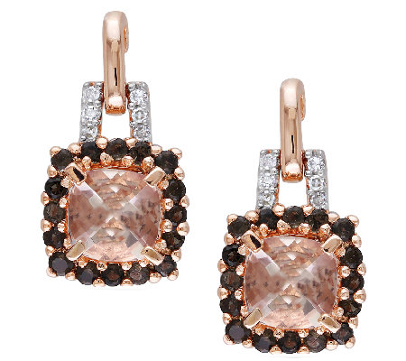 2.35cttw Morganite & Smoky Quartz Halo Drop Earrings, Sterlin
