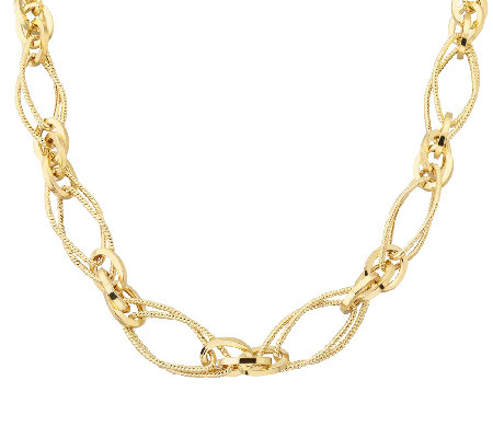 "EternaGold 18"" Textured Multi-Link Necklace 14KGold, 9.1g"