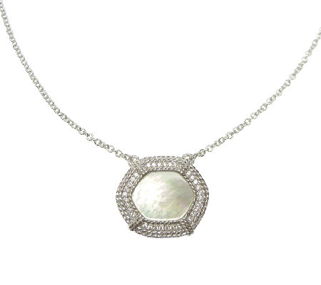 Judith Ripka Sterling Mother-of-Pearl Pendant Necklace