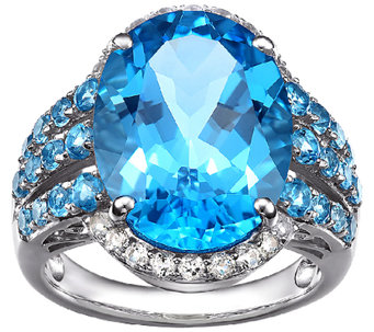 15.50cttw Blue Topaz & White Topaz Gemstone Ring, Sterling - J338547