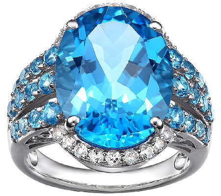 15.50cttw Blue Topaz & White Topaz Gemstone Ring, Sterling