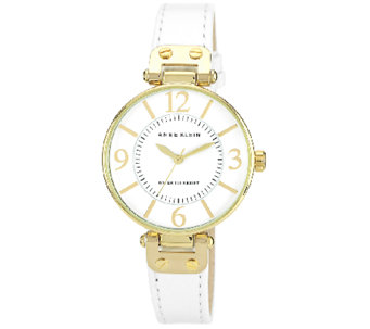 Anne Klein Women's Goldtone Round Leather Strap Watch - J338747