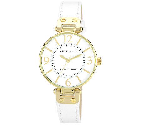 Anne Klein Women's Goldtone Round Leather Strap Watch