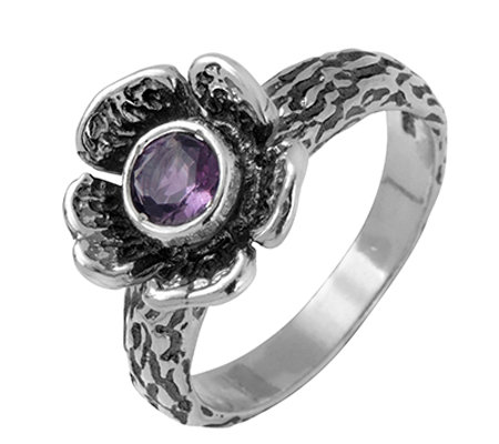 Sterling Silver Amethyst Flower Ring by Or Paz
