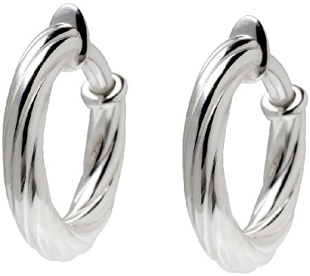 "UltraFine Silver 1"" Twisted Clip-On Hoop Earrings"
