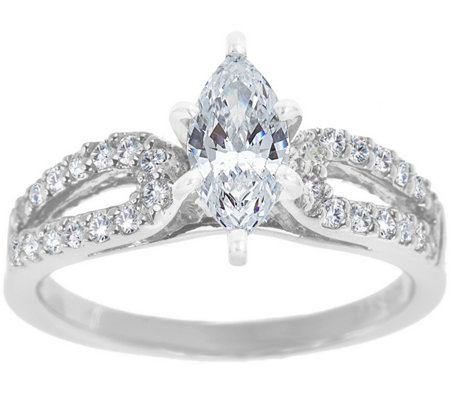 Curved Diamond Ring, 14K White Gold 1/2 cttw,by Affinity