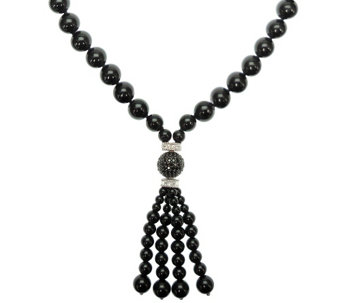 Judith Ripka Sterling Black Onyx & Diamonique Tassel Necklace - J341647