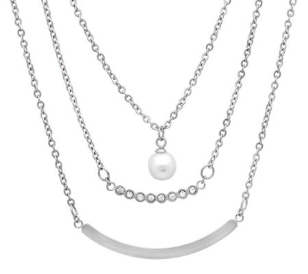 Stainless Steel Layered Simulated Pearl Necklace