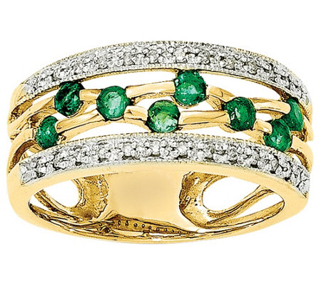 Gemstone and Diamond Cut-Out Band Ring, 14K