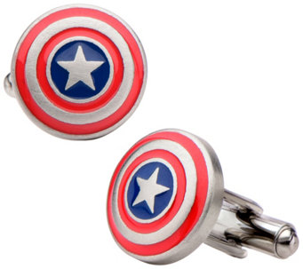 Marvel Stainless Steel Captain America Logo Cufflinks - J343047