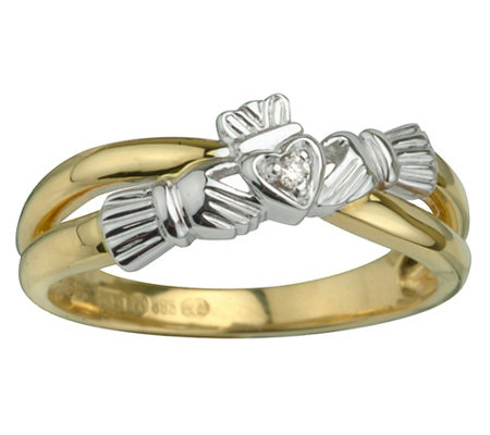 Solvar Diamond Accent Claddagh Ring, 14K