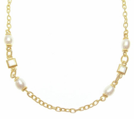"Judith Ripka 14K Clad Sterling DMQ Cultured Pearl 36"" Necklac"