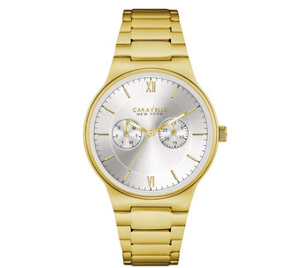 Caravelle New York Men's Goldtone Watch w/ Multifunction Dial - J344447
