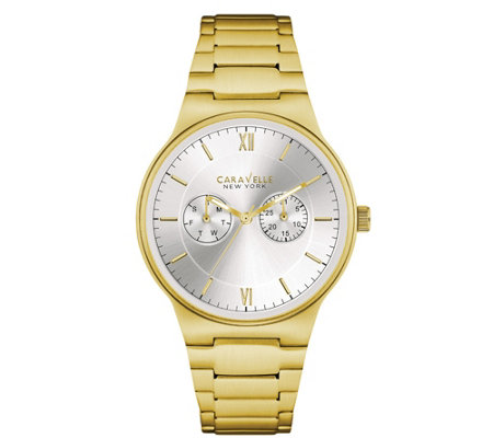 Caravelle New York Men's Goldtone Watch w/ Multifunction Dial