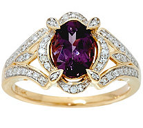 Oval Lavender Spinel & Diamond Ring 14K Gold 1.00 ct - J348147