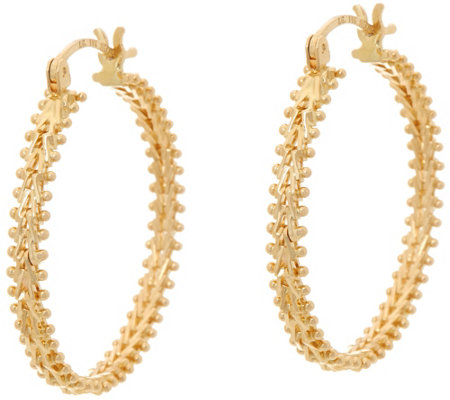 "Imperial Gold 1"" Wheat Hoop Earrings 14K Gold"
