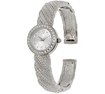 Diamonique Textured Bangle Watch - J349947