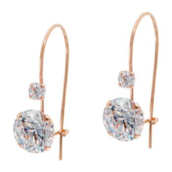 Diamonique 2.10cttw Round Dangle Earrings, 14K
