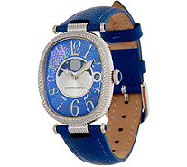 Judith Ripka Stainless Steel Leather Strap Moon Phase Watch - J353747