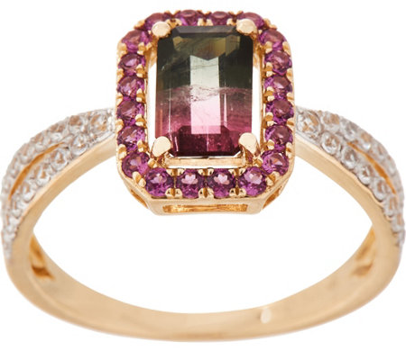 1.90 cttw Watermelon Tourmaline & Rhodolite Ring, 14K Gold