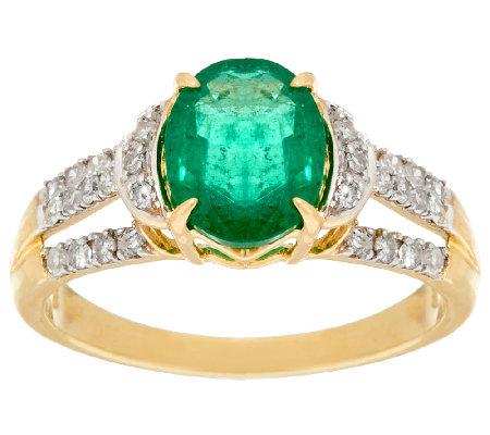 1 50 cts Columbian Emerald & 1 4 ct Diamond Ring 14K Gold Page