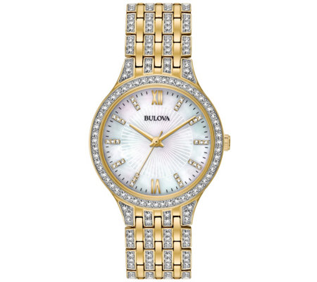 Bulova Women's Goldtone Crystal Bracelet Watch