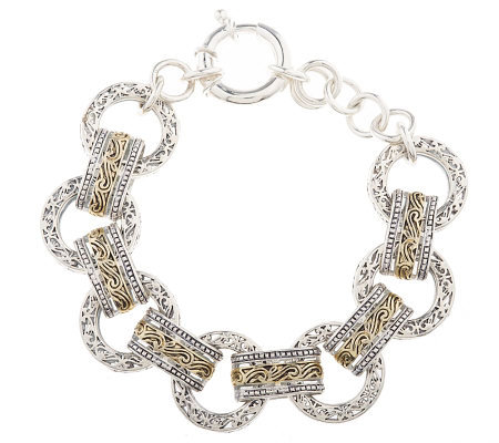 "Sterling Two-tone Circle Link Filigree 7-1/2"" Bracelet"