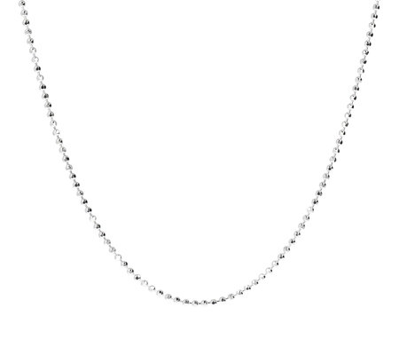 "UltraFine Silver 24"" Diamond Cut Bead Chain, 7.4g"