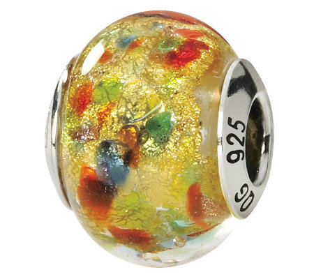 Prerogatives Sterling Yellow/Multi Italian Murano Glass Bead