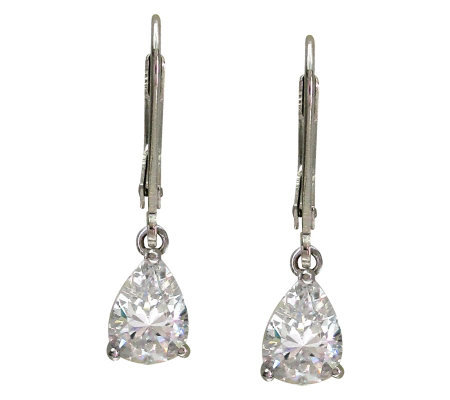 Diamonique 3 cttw Pear Cut Lever Back Earrings, Platinum Clad