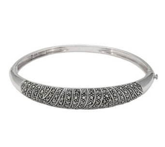 Suspicion Sterling Marcasite Oval Hinged Bangle - J112448