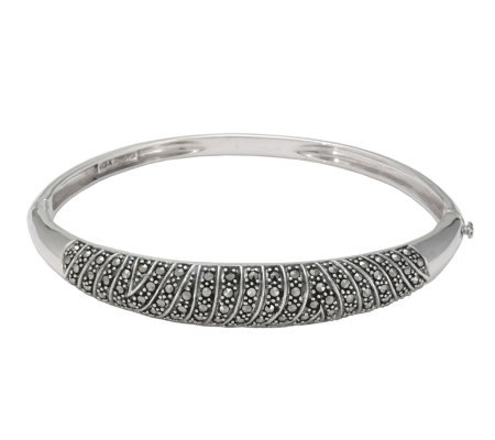 Suspicion Sterling Marcasite Oval Hinged Bangle