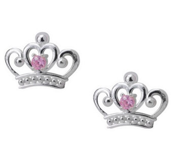 Disney Sterling Princess Pink Diamonique Stud E arrings - J112548