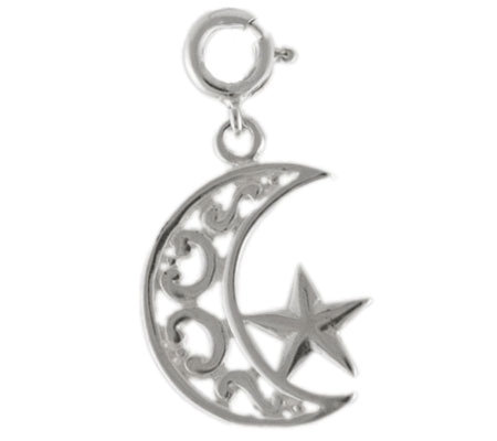 Sterling Moon and Star Charm