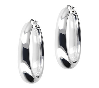UltraFine Silver Polished Graduated Oval Hoop Earrings - J113948