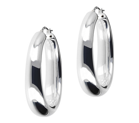 UltraFine Silver Polished Graduated Oval Hoop Earrings