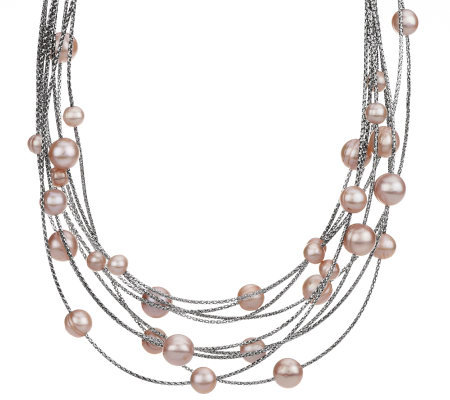 Honora Cultured Pearl Multi-strand Scattered Pearl Steel Necklace