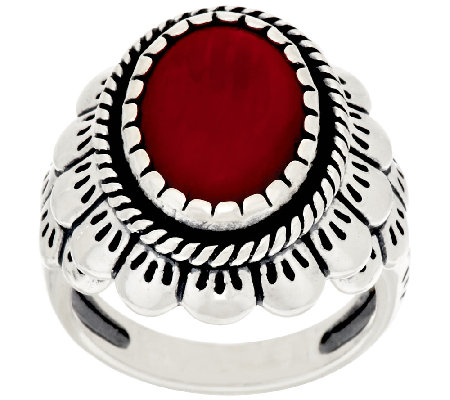 Oval Coral Scallop Design Sterling Silver Ring by American West
