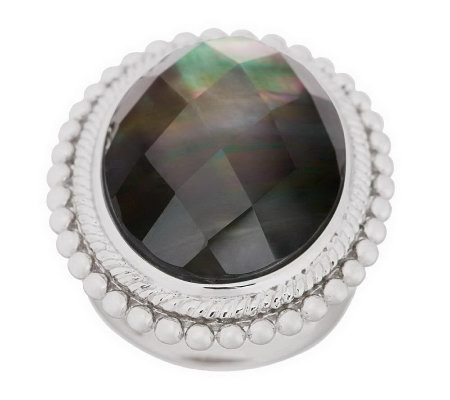 """As Is"" Honora Mother-of-Pearl Oval Faceted Doublet Sterling Ring"