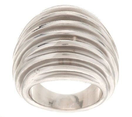 """As Is"" Italian Silver Sterling Dimensional Robbed Satin Domed Ring"