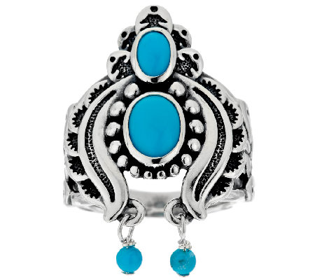 American West Sleeping Beauty Turquoise Sterling Naja Ring