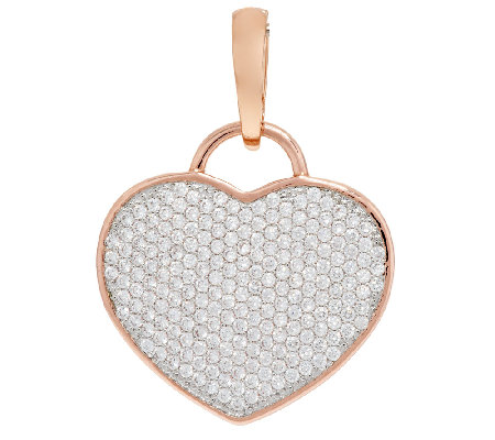 Bronze Pave' Crystal Heart Enhancer by Bronzo Italia