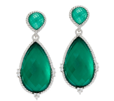 Judith Ripka Sterling Green Goddess Pear Doublet Drop Earrings