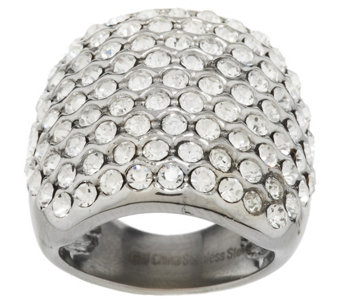 Stainless Steel Bold Crystal Cocktail Ring - J292748